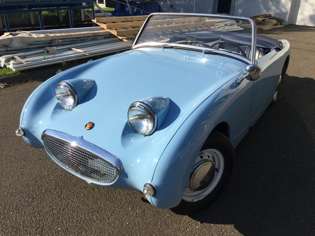 Great 1960 Iris Blue Bugeye Sprite fully restored and for sale!